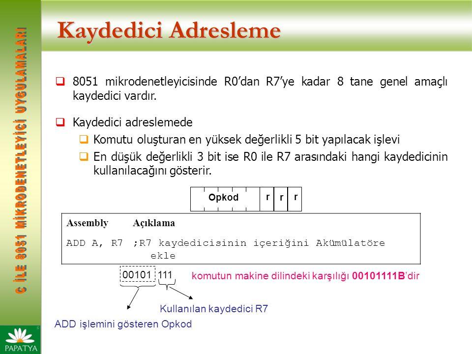 Kaydedici Adresleme 8051 mikrodenetleyicisinde R0'dan R7'ye kadar 8 tane genel amaçlı kaydedici vardır.