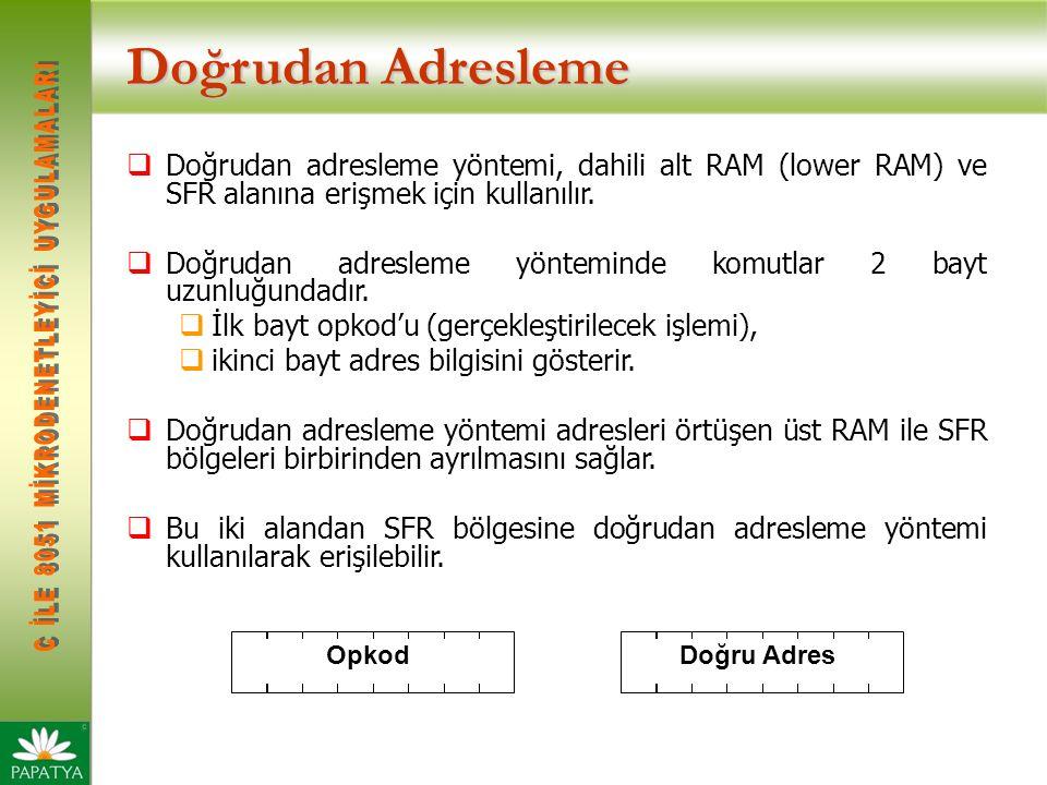 Doğrudan Adresleme Doğrudan adresleme yöntemi, dahili alt RAM (lower RAM) ve SFR alanına erişmek için kullanılır.