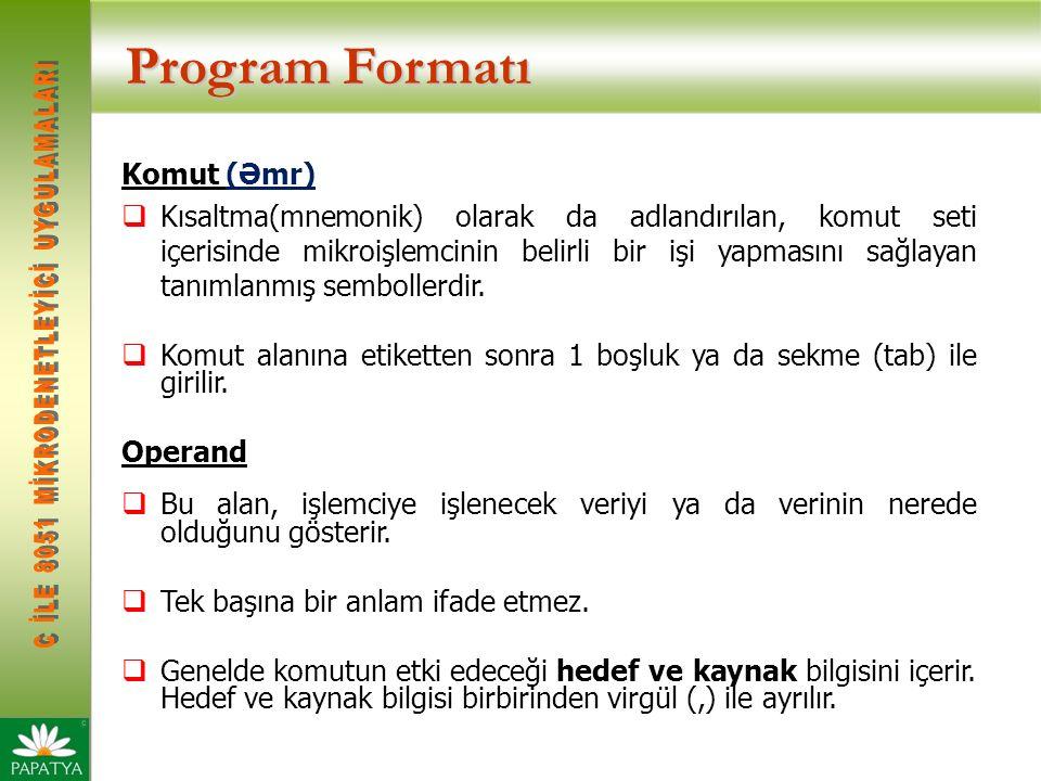 Program Formatı Komut (Əmr)