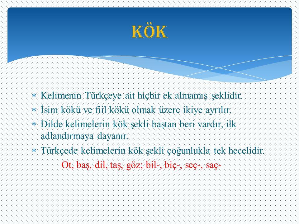 Kök Kelimenin Türkçeye ait hiçbir ek almamış şeklidir.