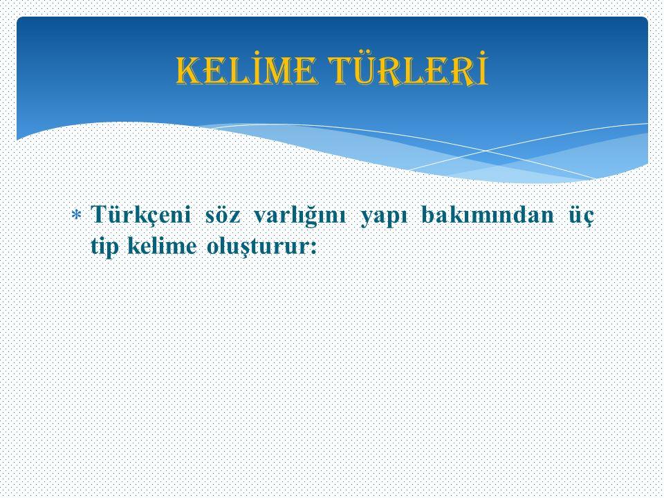 Kelİme Türlerİ Türkçeni söz varlığını yapı bakımından üç tip kelime oluşturur: