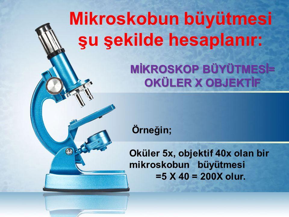 Mikroskobun büyütmesi şu şekilde hesaplanır: