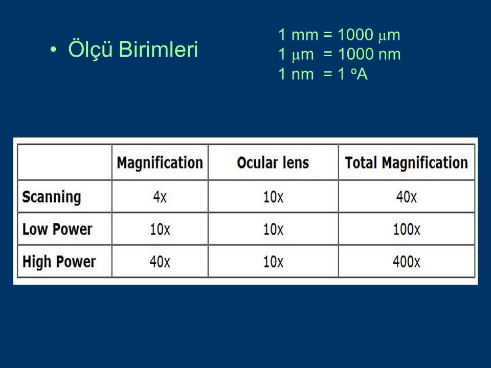 1 mm = 1000 µm 1 µm = 1000 nm 1 nm = 1 oA Ölçü Birimleri