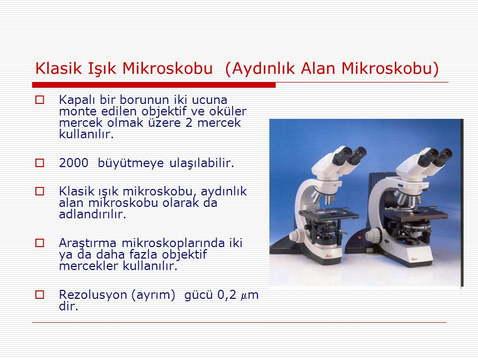 Klasik Işık Mikroskobu (Aydınlık Alan Mikroskobu)