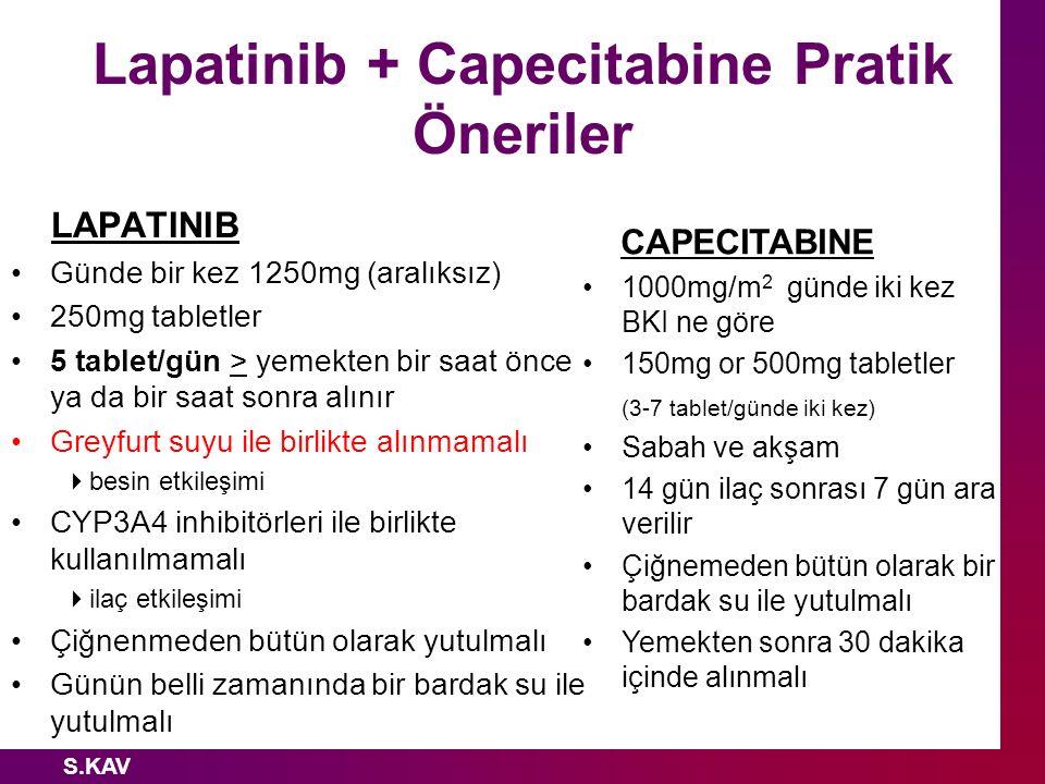 Lapatinib + Capecitabine Pratik Öneriler
