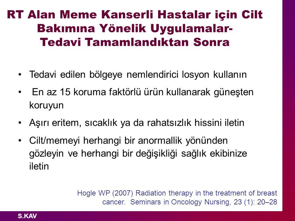 RT Alan Meme Kanserli Hastalar için Cilt Bakımına Yönelik Uygulamalar-