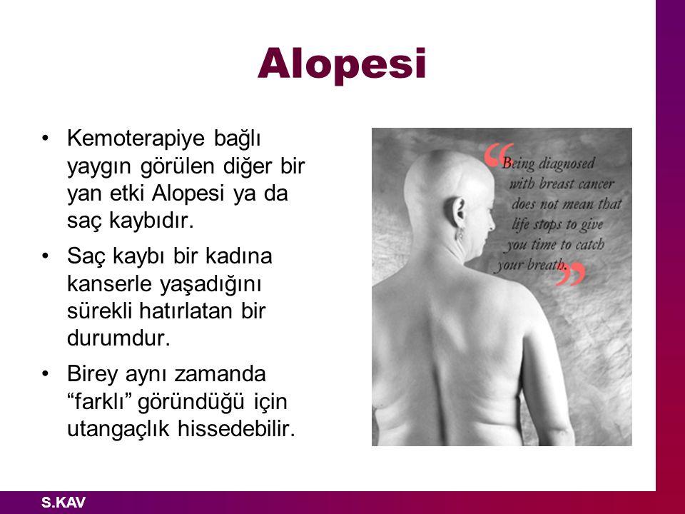 Alopesi Kemoterapiye bağlı yaygın görülen diğer bir yan etki Alopesi ya da saç kaybıdır.