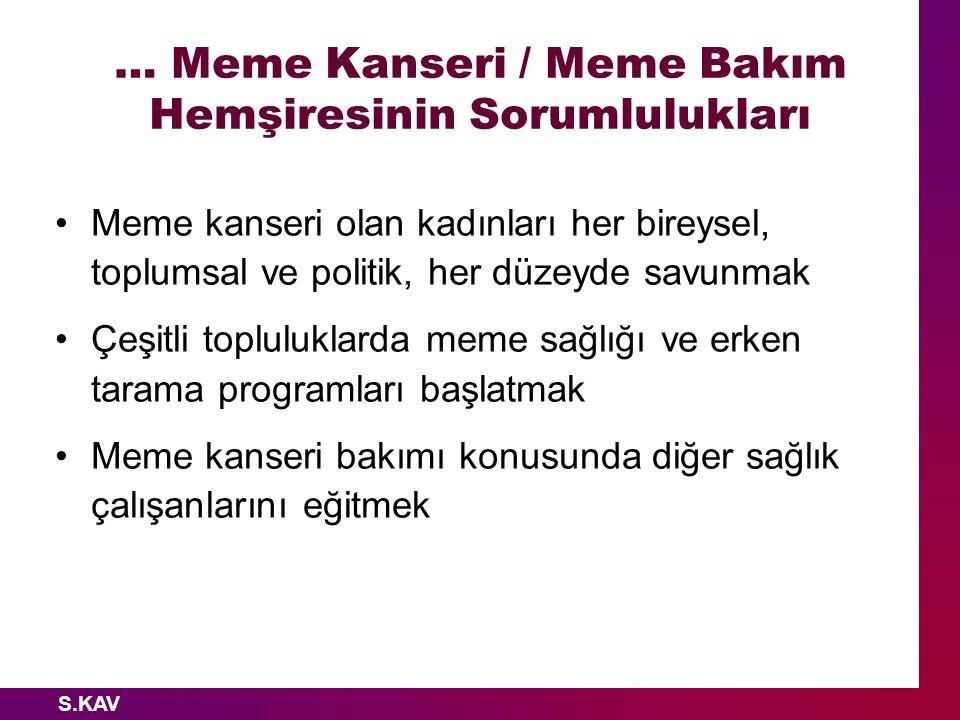 … Meme Kanseri / Meme Bakım Hemşiresinin Sorumlulukları