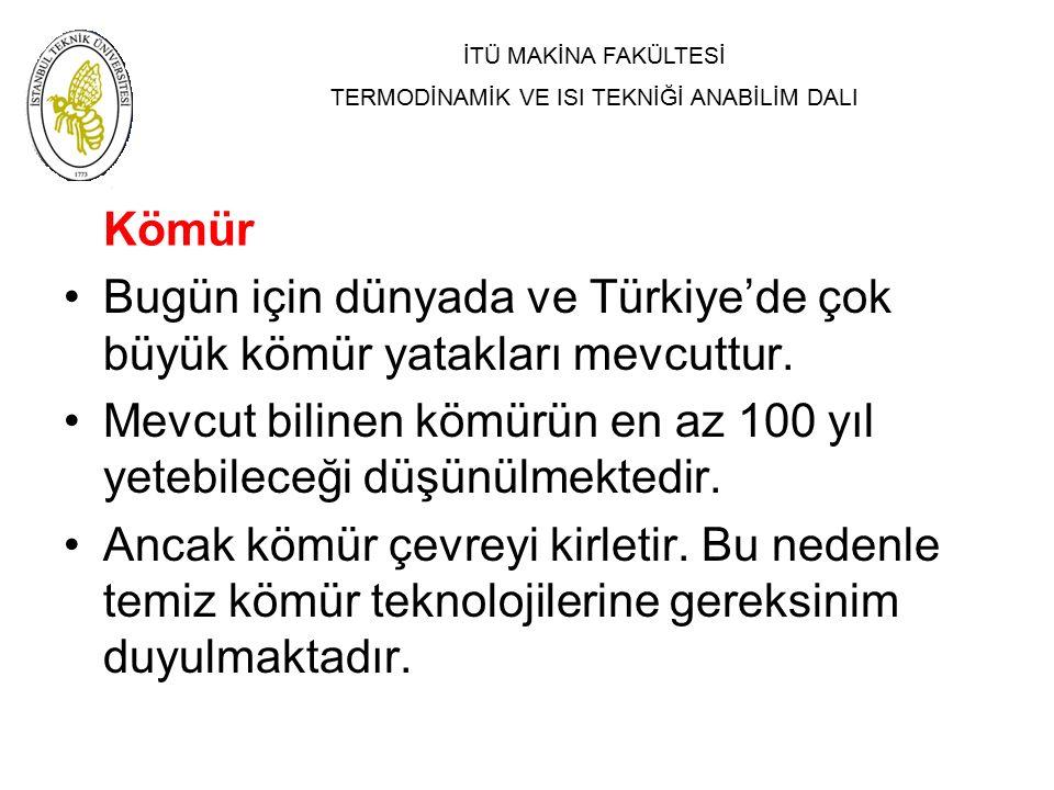 Kömür Bugün için dünyada ve Türkiye'de çok büyük kömür yatakları mevcuttur. Mevcut bilinen kömürün en az 100 yıl yetebileceği düşünülmektedir.