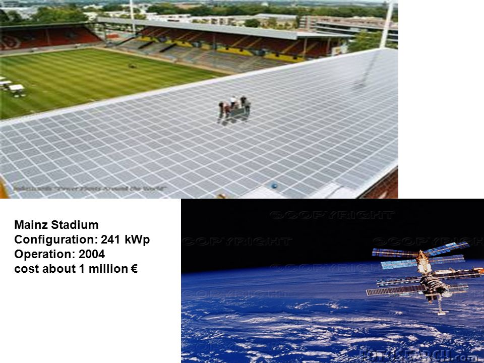 Mainz Stadium Configuration: 241 kWp Operation: 2004