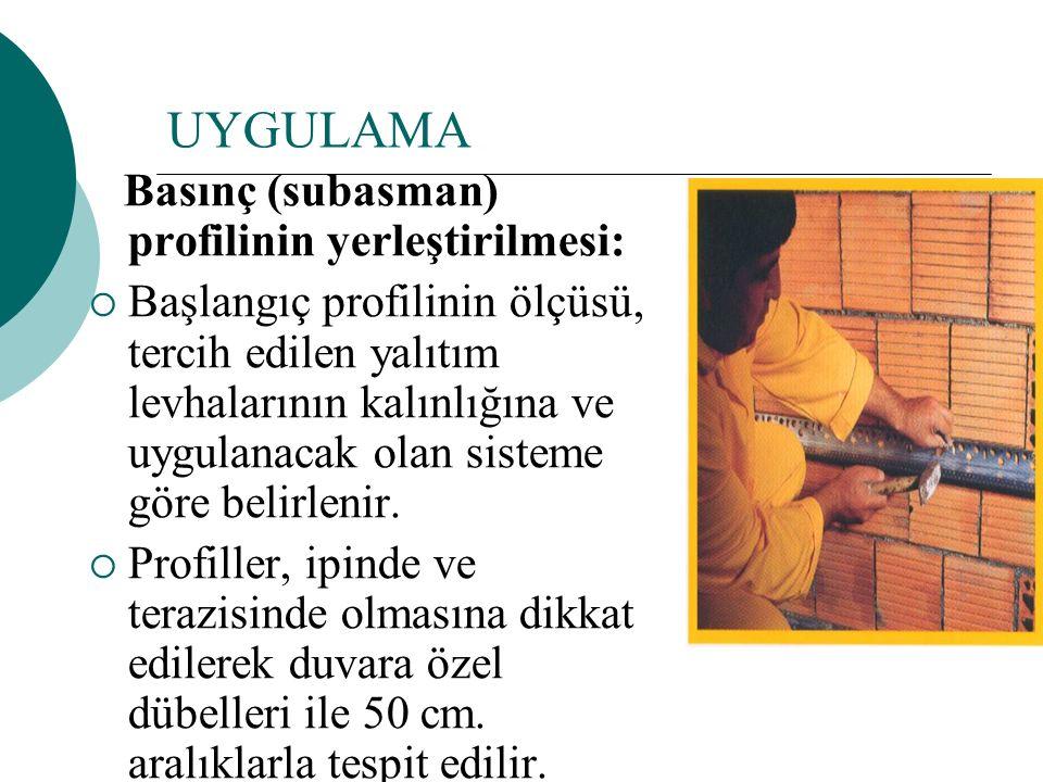 UYGULAMA Basınç (subasman) profilinin yerleştirilmesi:
