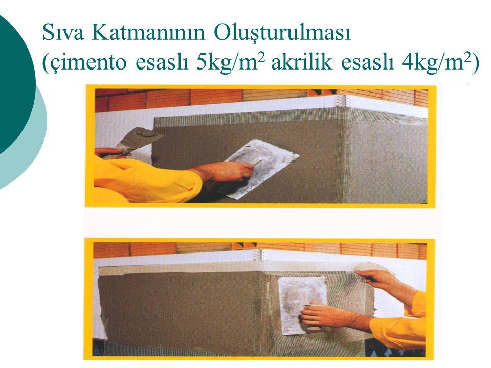 Sıva Katmanının Oluşturulması (çimento esaslı 5kg/m2 akrilik esaslı 4kg/m2)