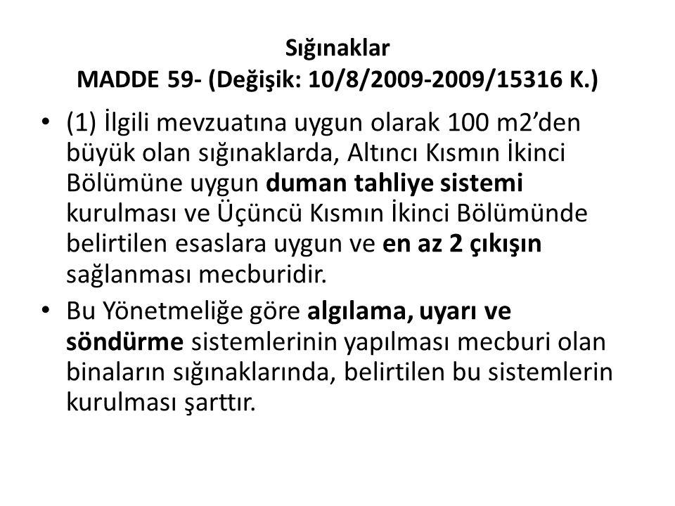 Sığınaklar MADDE 59- (Değişik: 10/8/2009-2009/15316 K.)