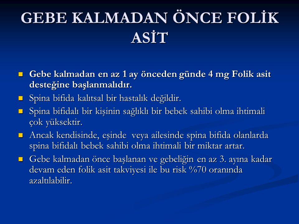 GEBE KALMADAN ÖNCE FOLİK ASİT