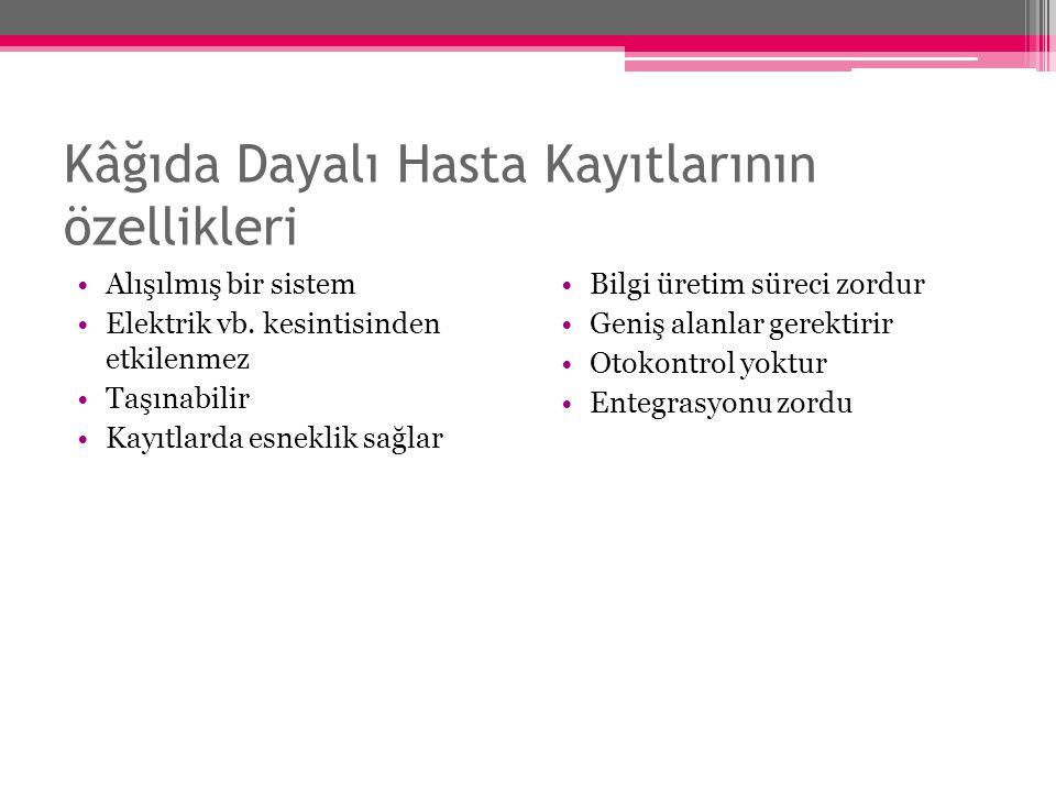 Kâğıda Dayalı Hasta Kayıtlarının özellikleri