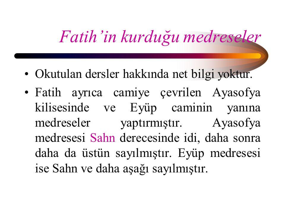 Fatih'in kurduğu medreseler
