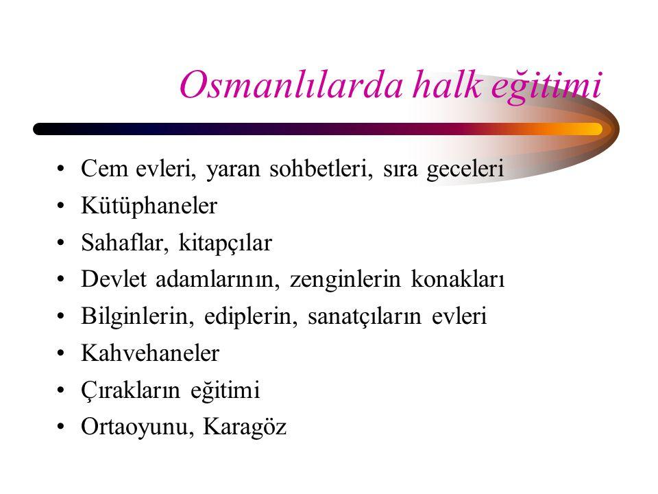 Osmanlılarda halk eğitimi