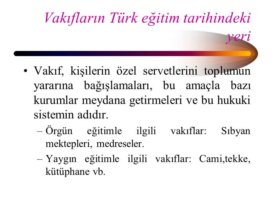 Vakıfların Türk eğitim tarihindeki yeri