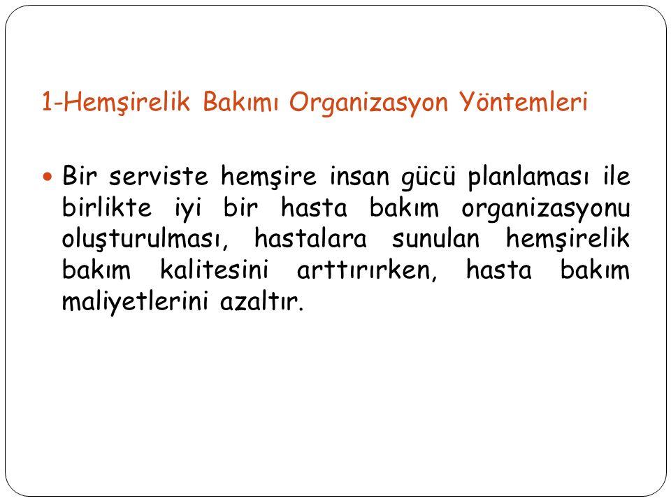 1-Hemşirelik Bakımı Organizasyon Yöntemleri
