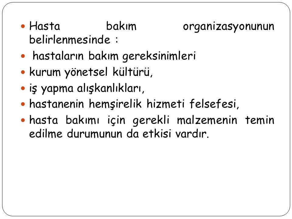 Hasta bakım organizasyonunun belirlenmesinde :