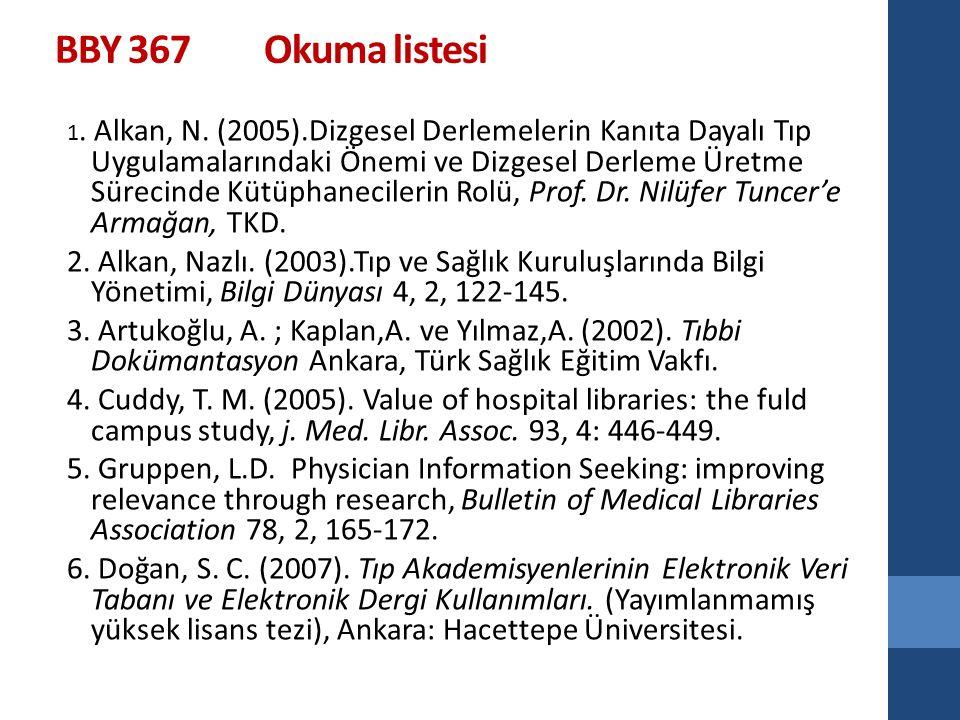 BBY 367 Okuma listesi