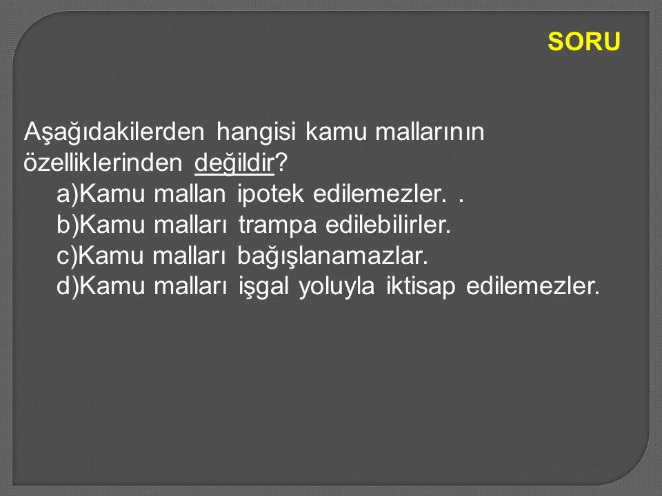 SORU Aşağıdakilerden hangisi kamu mallarının özelliklerinden değildir Kamu mallan ipotek edilemezler. .