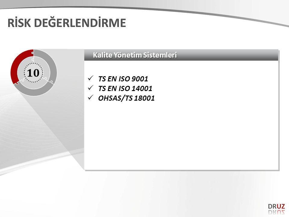 RİSK DEĞERLENDİRME 10 Kalite Yönetim Sistemleri TS EN ISO 9001