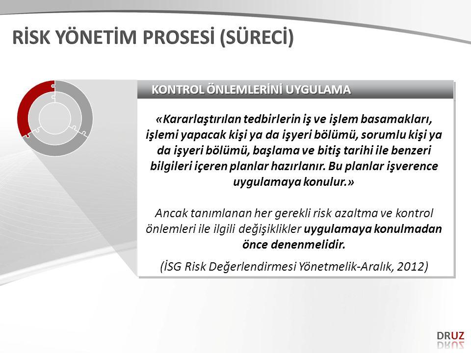 (İSG Risk Değerlendirmesi Yönetmelik-Aralık, 2012)