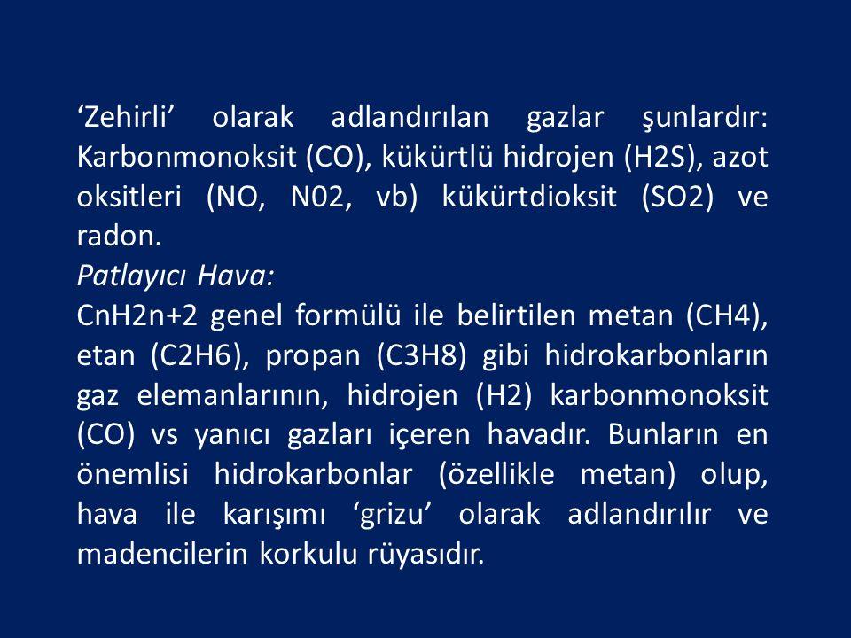 'Zehirli' olarak adlandırılan gazlar şunlardır: Karbonmonoksit (CO), kükürtlü hidrojen (H2S), azot oksitleri (NO, N02, vb) kükürtdioksit (SO2) ve radon.