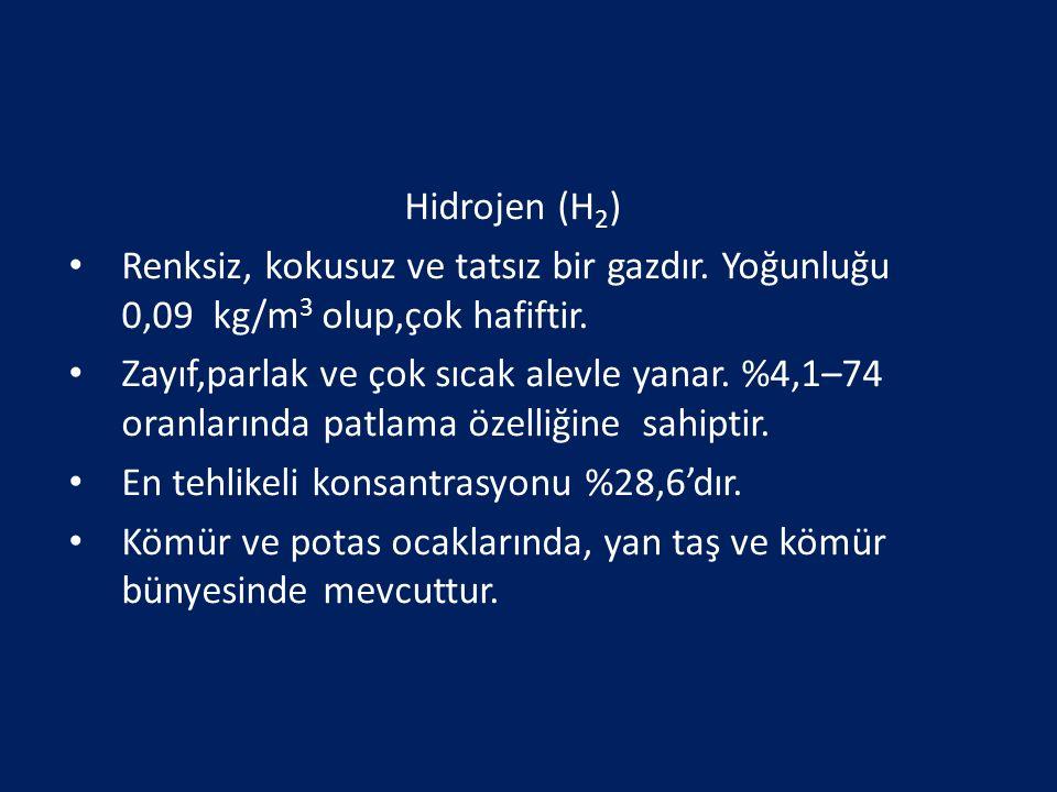 Hidrojen (H2) Renksiz, kokusuz ve tatsız bir gazdır. Yoğunluğu 0,09 kg/m3 olup,çok hafiftir.