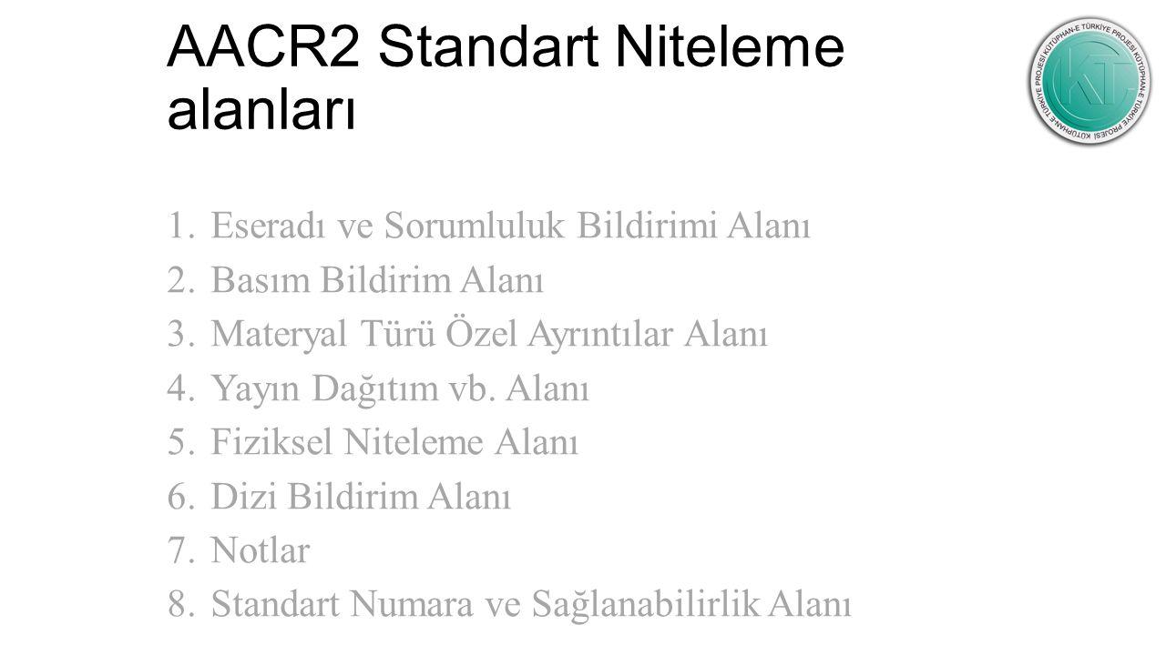 AACR2 Standart Niteleme alanları