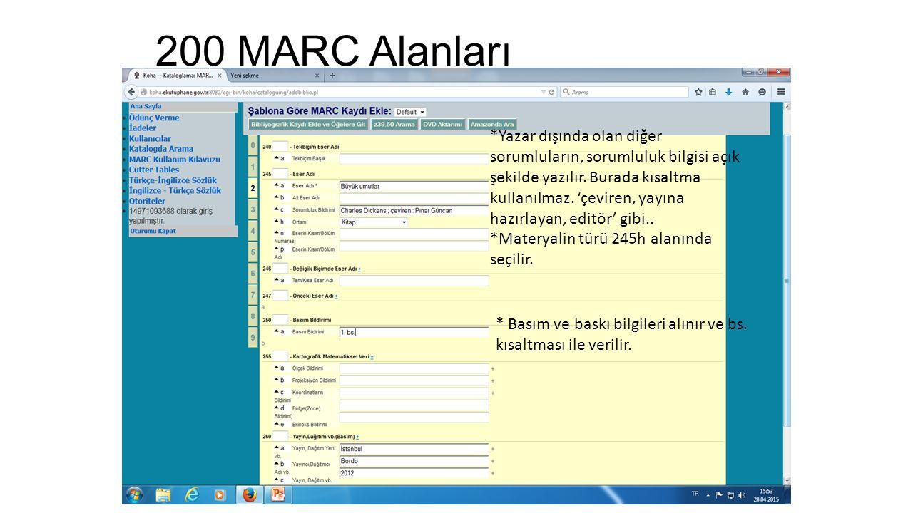 200 MARC Alanları