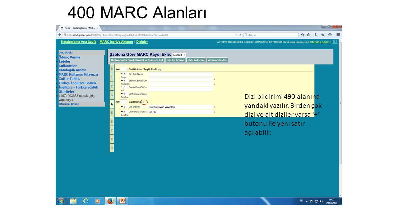 400 MARC Alanları Dizi bildirimi 490 alanına yandaki yazılır.