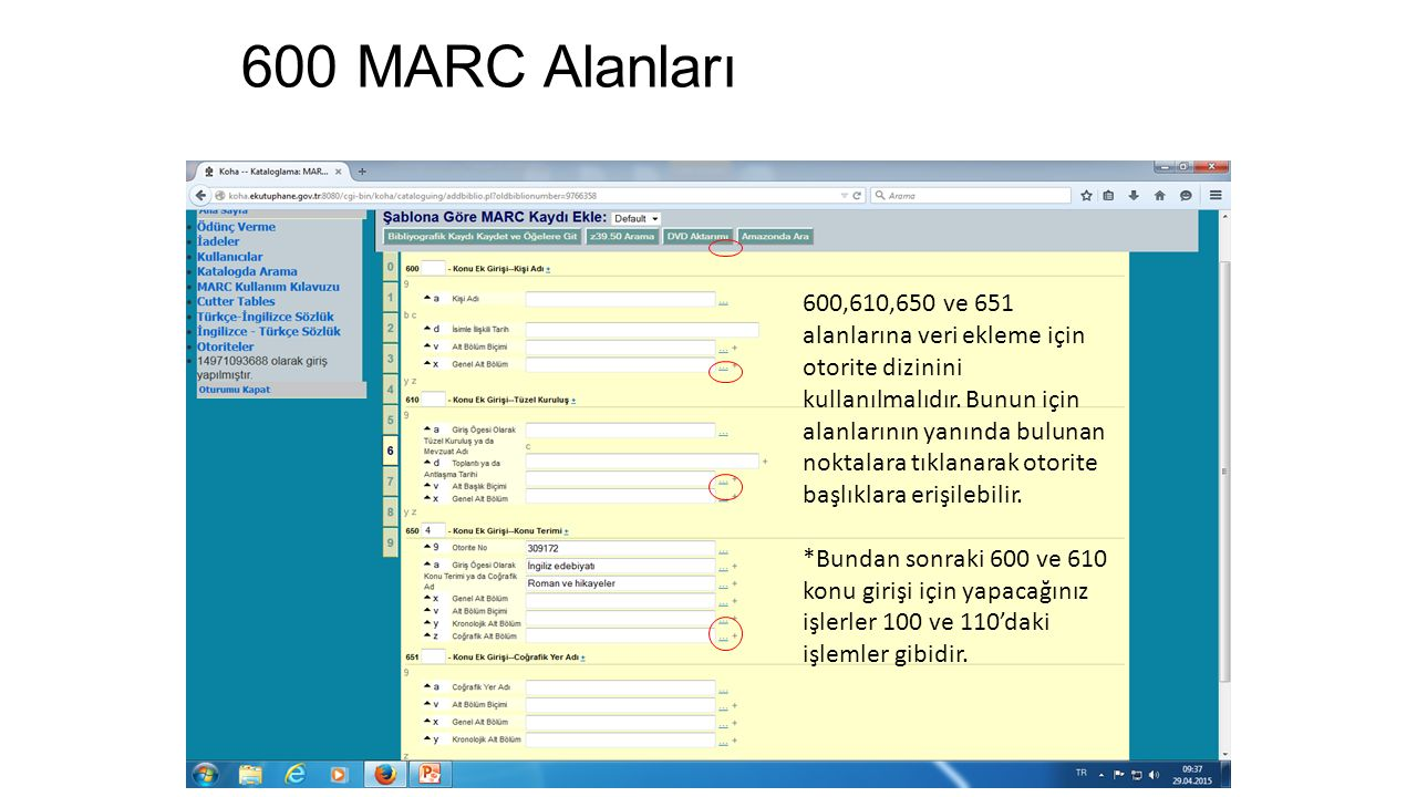 600 MARC Alanları
