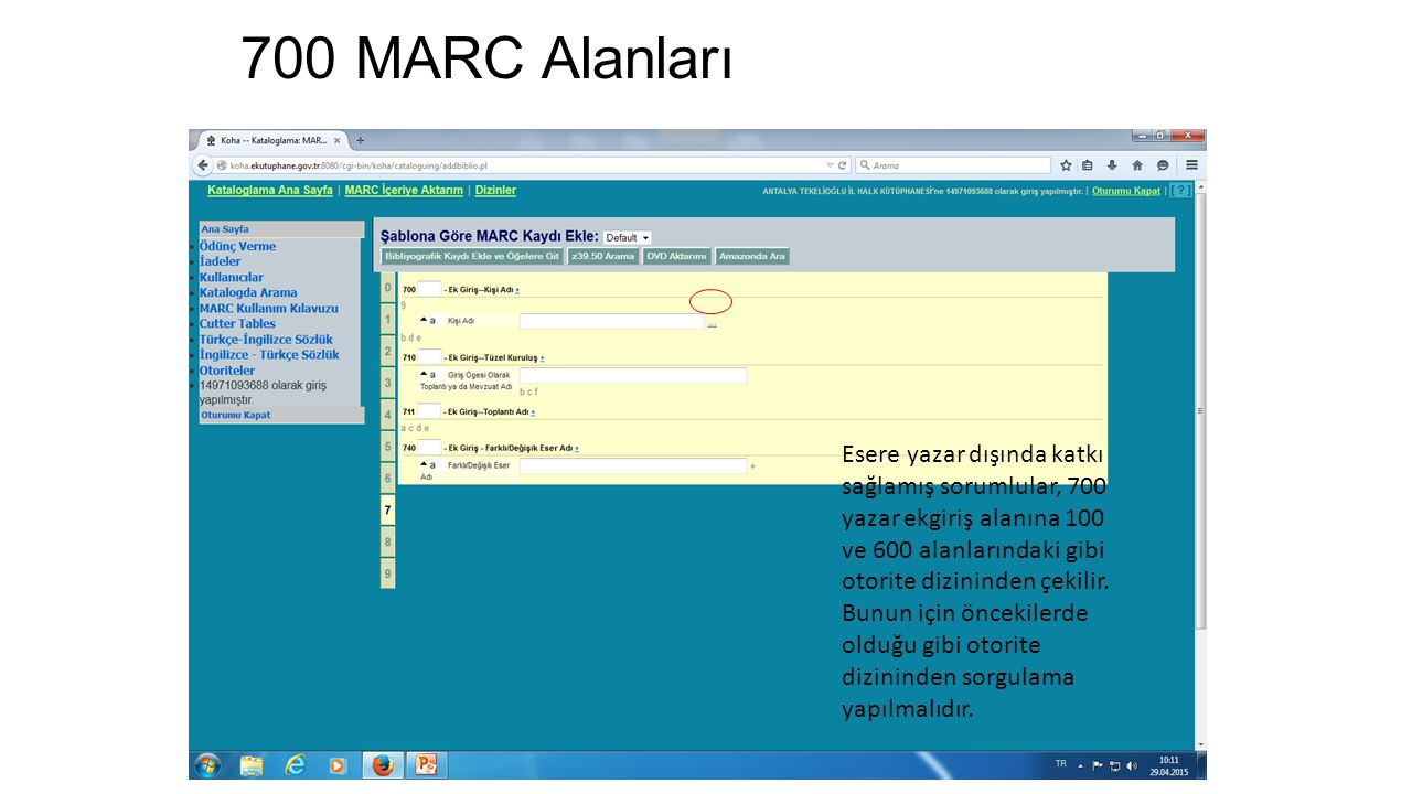 700 MARC Alanları