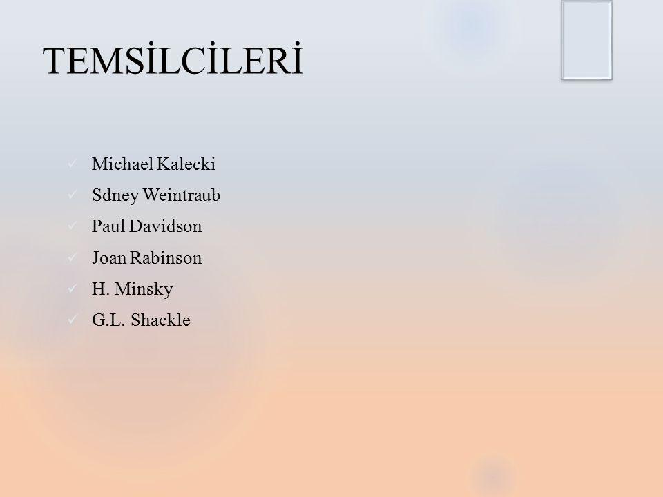 TEMSİLCİLERİ Michael Kalecki Sdney Weintraub Paul Davidson