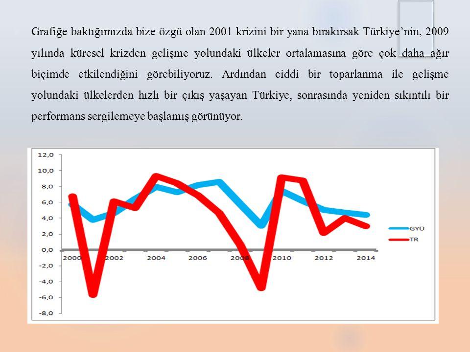 Grafiğe baktığımızda bize özgü olan 2001 krizini bir yana bırakırsak Türkiye'nin, 2009 yılında küresel krizden gelişme yolundaki ülkeler ortalamasına göre çok daha ağır biçimde etkilendiğini görebiliyoruz. Ardından ciddi bir toparlanma ile gelişme yolundaki ülkelerden hızlı bir çıkış yaşayan Türkiye, sonrasında yeniden sıkıntılı bir performans sergilemeye başlamış görünüyor.