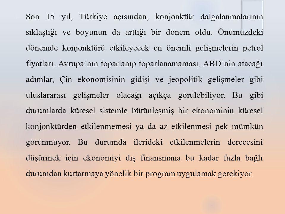 Son 15 yıl, Türkiye açısından, konjonktür dalgalanmalarının sıklaştığı ve boyunun da arttığı bir dönem oldu.