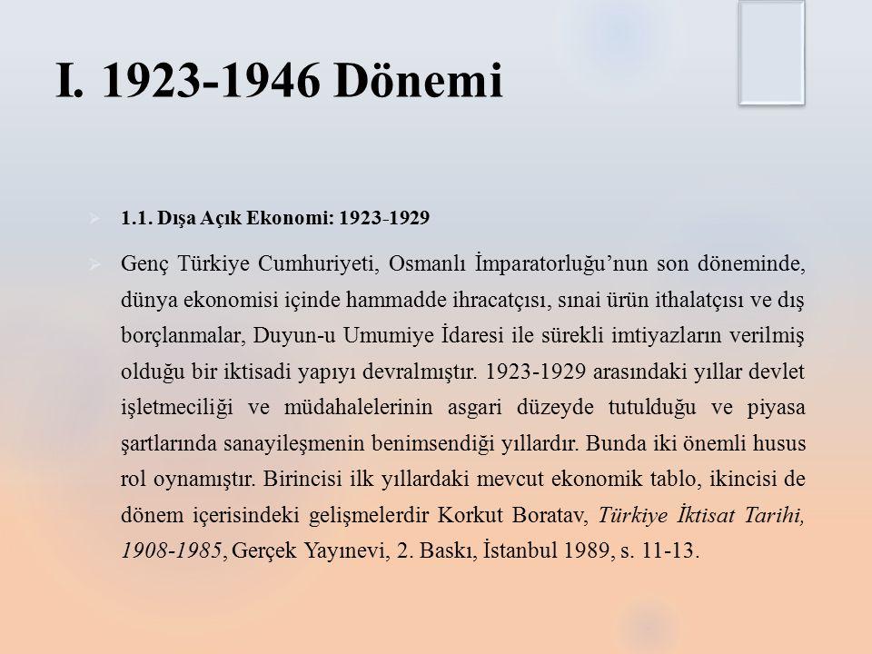 I. 1923-1946 Dönemi 1.1. Dışa Açık Ekonomi: 1923-1929.