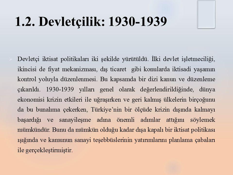 1.2. Devletçilik: 1930-1939