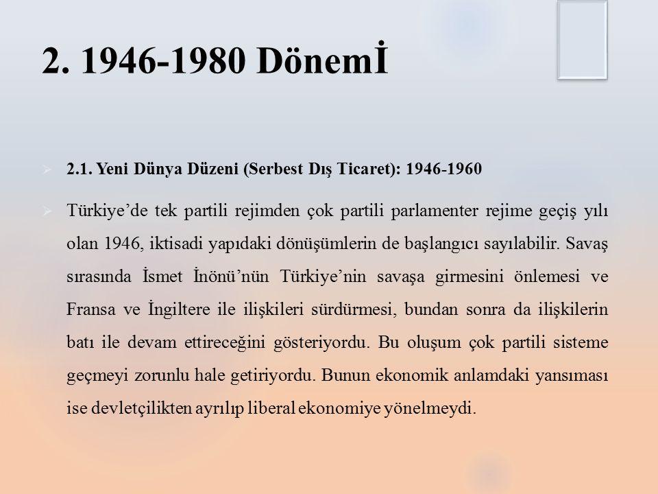 2. 1946-1980 Dönemİ 2.1. Yeni Dünya Düzeni (Serbest Dış Ticaret): 1946-1960.