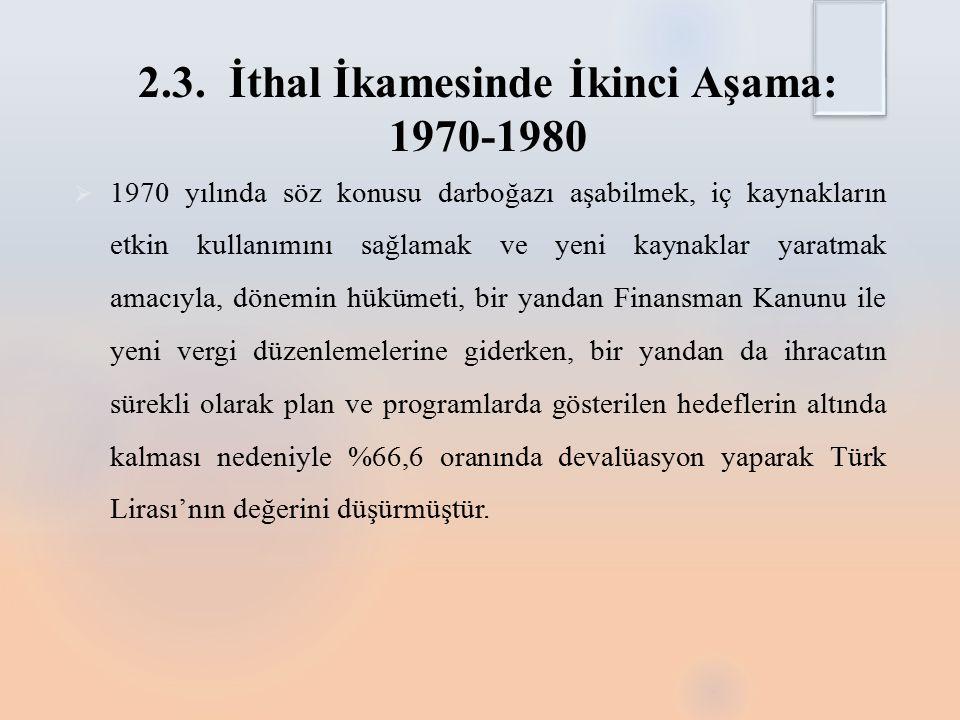 2.3. İthal İkamesinde İkinci Aşama: 1970-1980