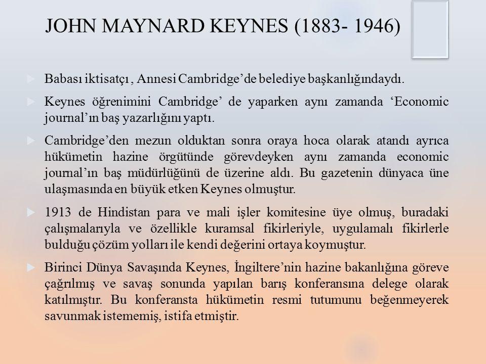 JOHN MAYNARD KEYNES (1883- 1946)
