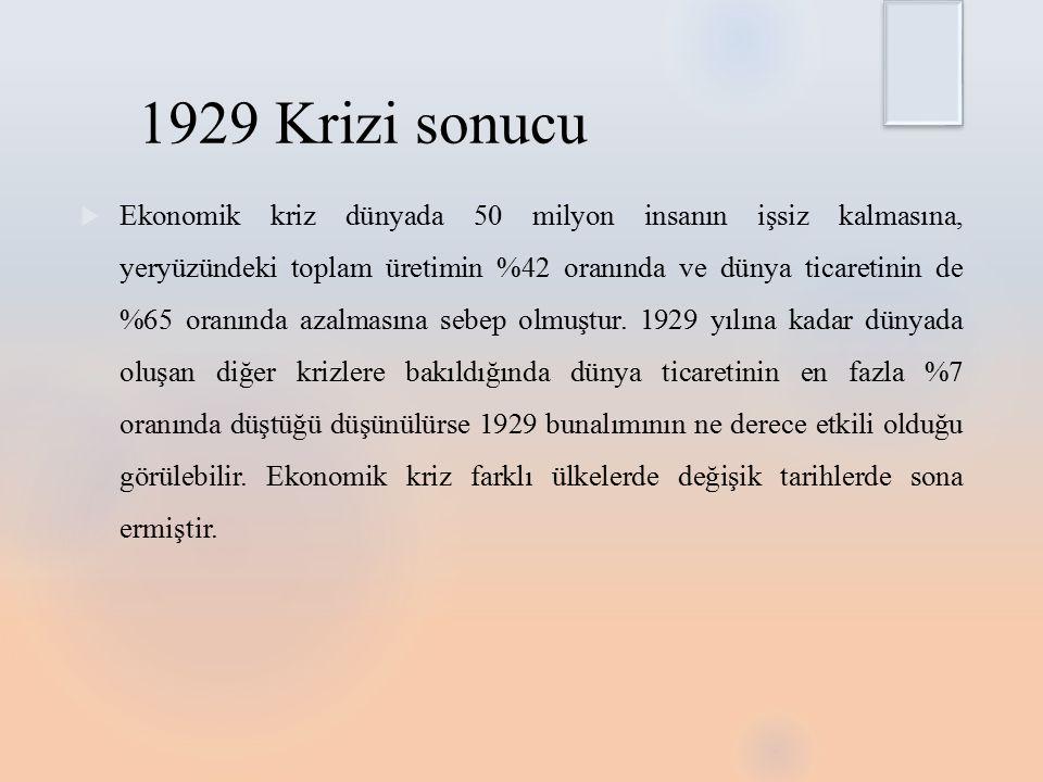 1929 Krizi sonucu