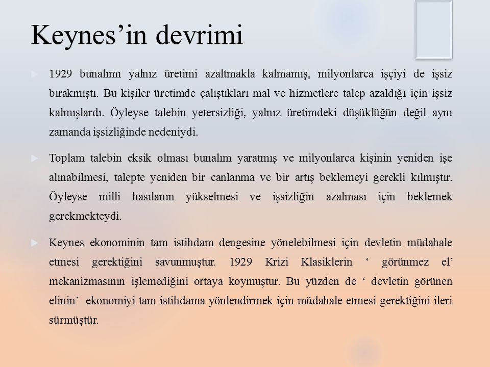 Keynes'in devrimi