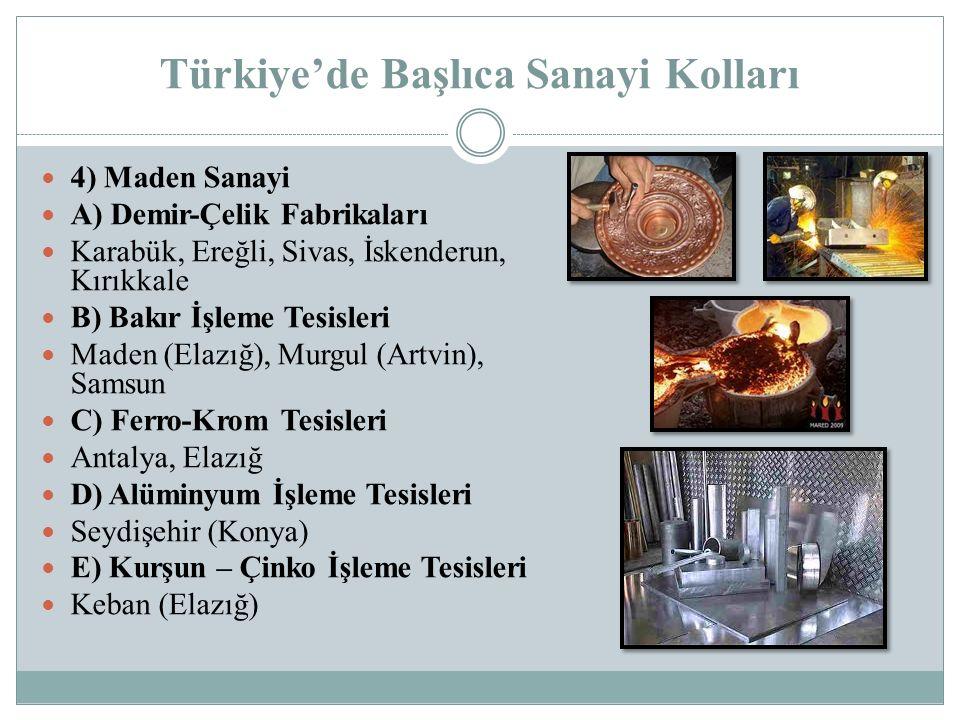 Türkiye'de Başlıca Sanayi Kolları