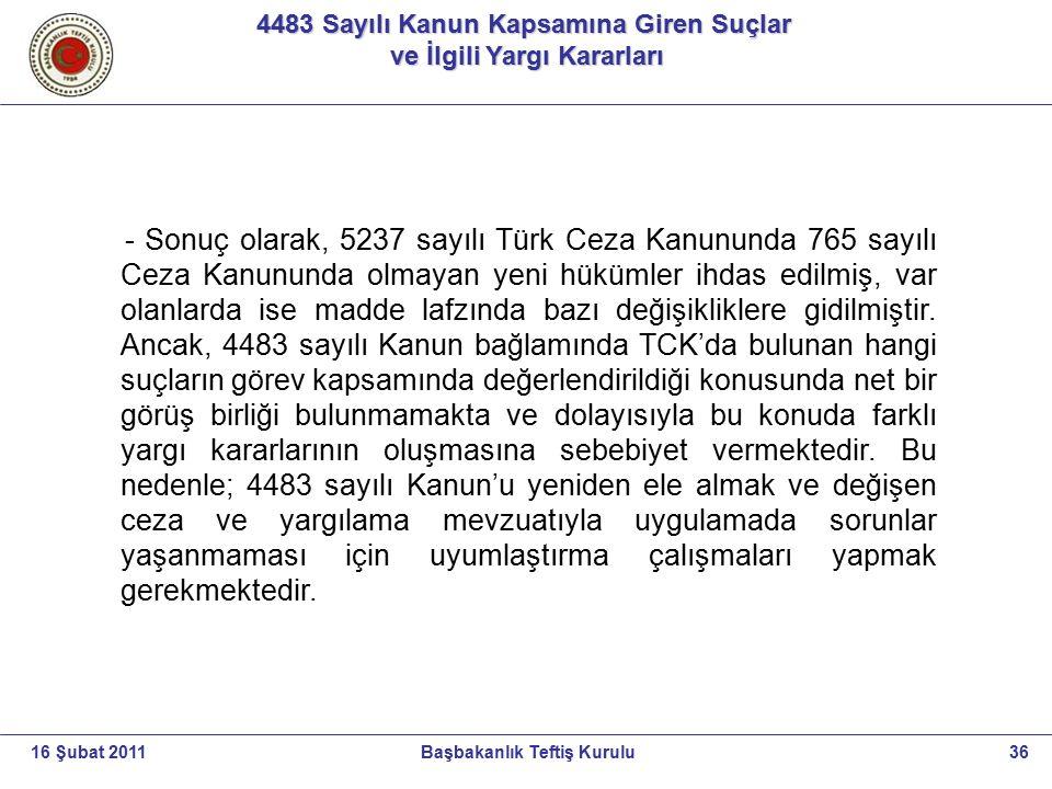 4483 Sayılı Kanun Kapsamına Giren Suçlar