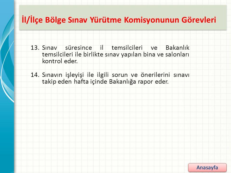 İl/İlçe Bölge Sınav Yürütme Komisyonunun Görevleri