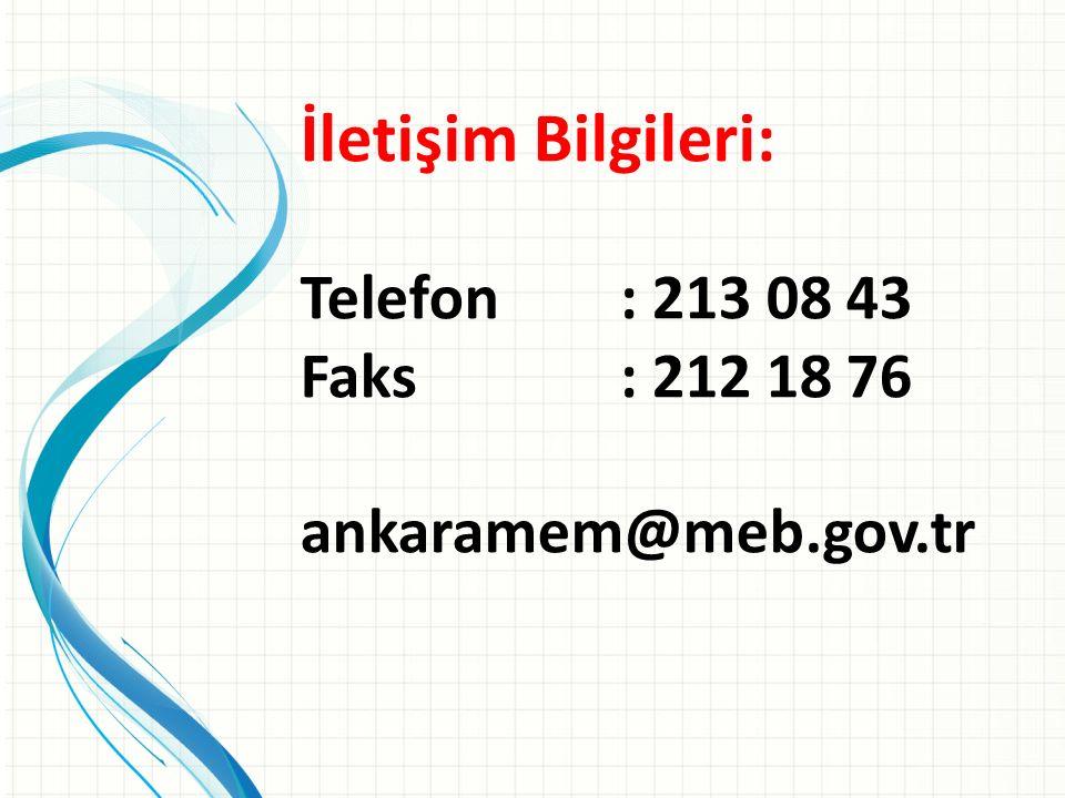 İletişim Bilgileri: Telefon : 213 08 43 Faks : 212 18 76