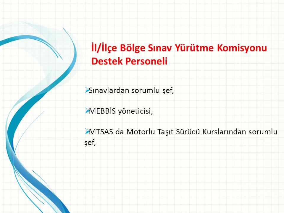 İl/İlçe Bölge Sınav Yürütme Komisyonu Destek Personeli